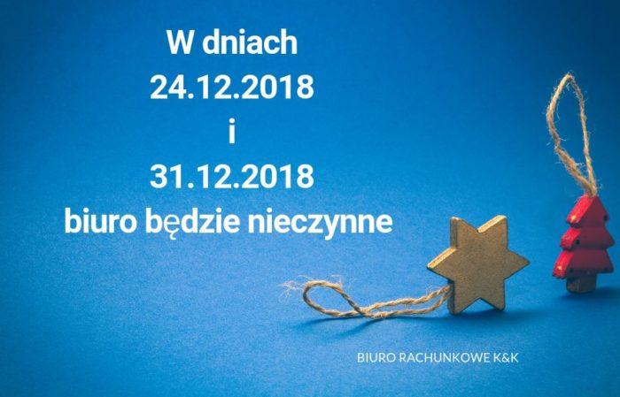 Informujemy 24 i 31 grudnia biuro nieczynne.